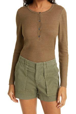 NILI LOTAN Women's Michelle Rib Linen Henley Sweater