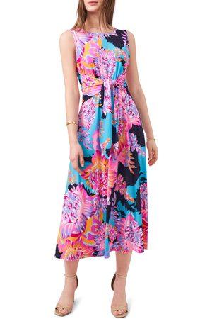 Chaussmoi Women Casual Dresses - Women's Floral Tie Front Sleeveless Jersey Dress