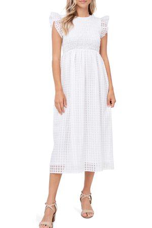 En Saison Women's Organza Gingham Midi Dress