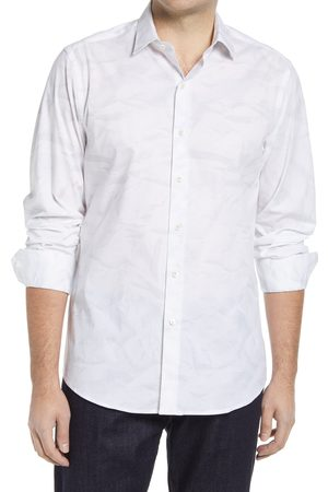 Bugatchi Men's Shaped Fit Stretch Marble Button-Up Performance Shirt