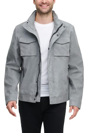 Tommy Hilfiger Men Leather Jackets - Men's Water Resistant Faux Leather Military Jacket