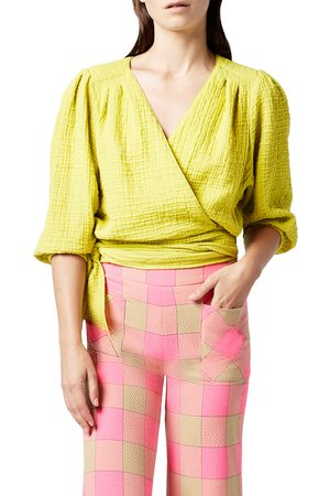 SMYTHE Women's Crinkled Cotton Wrap Tie Top