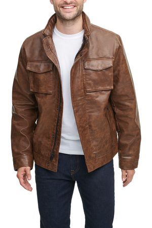 Tommy Hilfiger Men's Water Resistant Faux Leather Military Jacket