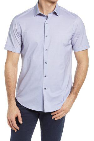 Bugatchi Men Short sleeves - Men's Ooohcotton Tech Solid Short Sleeve Knit Button-Up Shirt