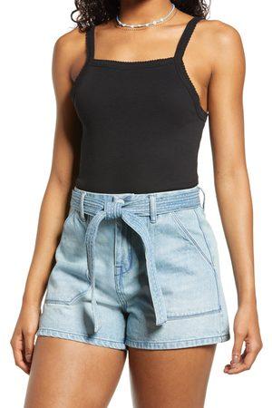 BP. Women's Picot Trim Cotton Blend Rib Bodysuit