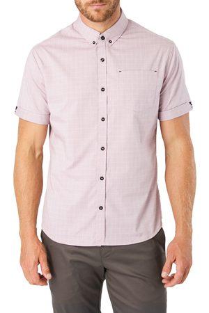 7 Diamonds Men's Saga Slim Fit Plaid Short Sleeve Button-Down Shirt