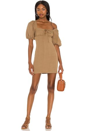 Lovers + Friends Steph Mini Dress in Taupe.