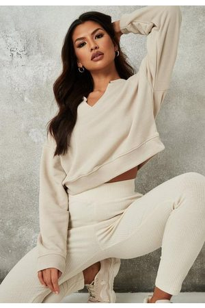Missguided Sand Raw Edge Notch Neck Sweatshirt