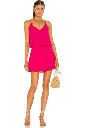 krisa Smocked Waist Cami Mini Dress in Fuchsia.