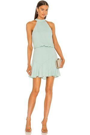 krisa Asymmetrical Flare Halter Mini Dress in Mint.
