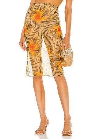 KIM SHUI Women Midi Skirts - Sheer Mesh Tropic Skirt in Yellow.