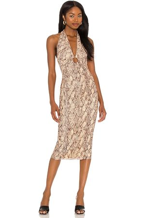 Michael Costello X REVOLVE Anais Midi Dress in Tan.