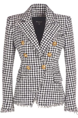 Balmain Women Blazers - Cotton Blend Tweed Blazer