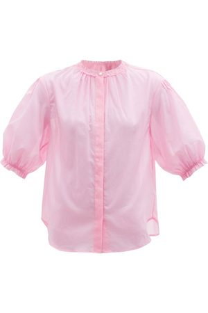 Loup Charmant Pico Ruffled Organic-cotton Poplin Blouse - Womens