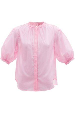 Loup Charmant Women Blouses - Pico Ruffled Organic-cotton Poplin Blouse - Womens