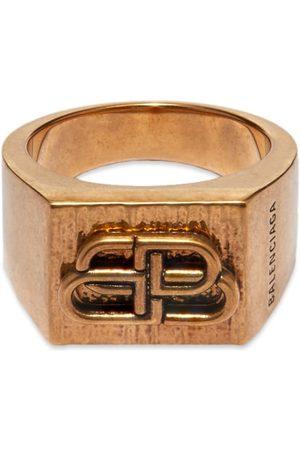Balenciaga Men Rings - Textured BB Ring