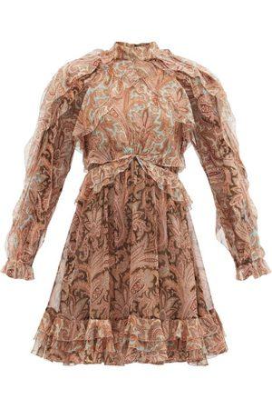 ZIMMERMANN Candescent Ruffled Paisley Silk-chiffon Mini Dress - Womens - Print