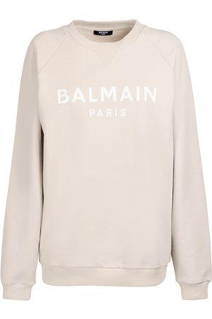 Balmain Women Sweatshirts - Logo Printed Organic Cotton Sweatshirt