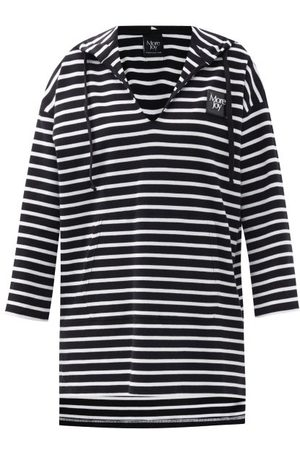Christopher Kane Logo-patch Striped Cotton Hooded Sweatshirt - Womens - Stripe
