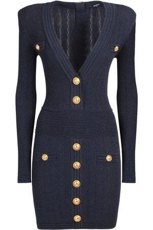 Balmain V-neck Buttoned Knit Mini Dress