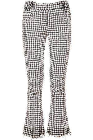 Balmain Women Wide Leg Pants - Houndstooth Cotton Blend Flared Pants