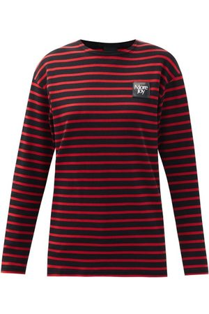 Christopher Kane Logo-patch Striped Cotton Long-sleeved T-shirt - Womens - Stripe