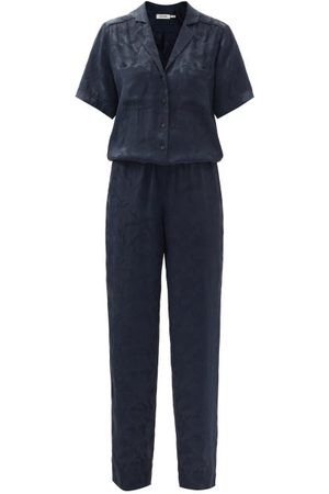 Cefinn Spencer Camo-jacquard Satin Jumpsuit - Womens - Navy