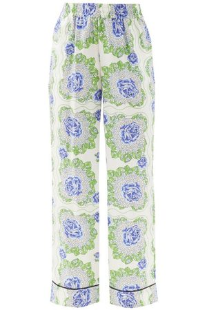 RODARTE Women Pants - Floral-print Silk-satin Twill Trousers - Womens - Multi