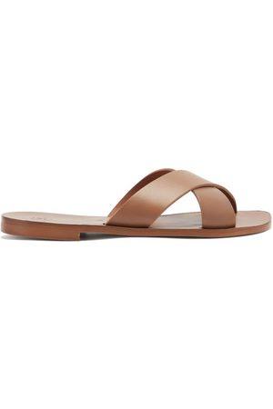Álvaro Antonio Crossover-strap Leather Slides - Mens
