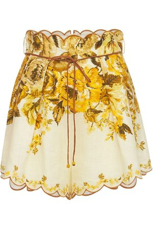 ZIMMERMANN Women Shorts - Aliane Printed Linen Shorts
