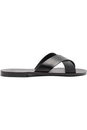 Álvaro Men Sandals - Antonio Crossover-strap Leather Slides - Mens