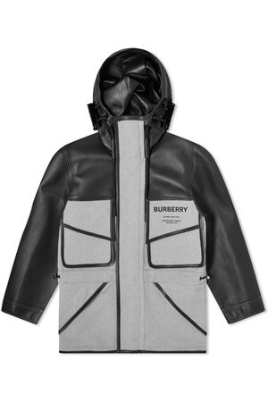 Burberry Hooded Canvas & Leather Jacket