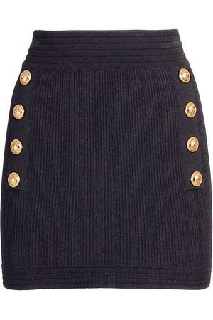 Balmain Viscose Blend Knit Buttoned Mini Skirt