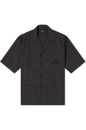 Balenciaga Men Short sleeves - Short Sleeve Embroidered Pocket Check Logo Vacation Shirt