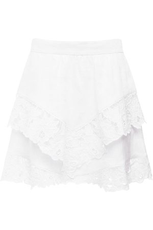 Isabel Marant Women Mini Skirts - Enali Ruffled Linen Mini Skirt