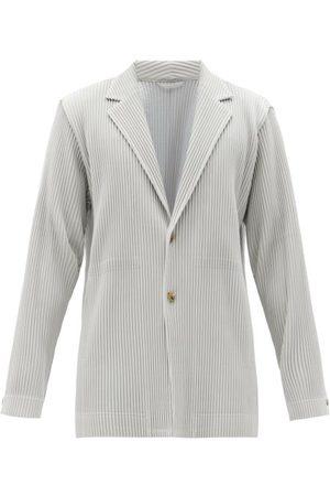 HOMME PLISSÉ ISSEY MIYAKE Men Blazers - Single-breasted Tech-pleated Knit Blazer - Mens - Light Grey