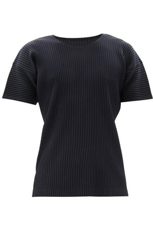 HOMME PLISSÉ ISSEY MIYAKE Crew-neck Technical-pleated Jersey T-shirt - Mens - Navy