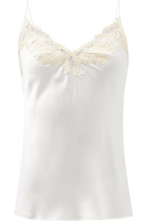 La Perla Women Camisoles - Hand-embroidered Silk-blend Charmeuse Camisole - Womens