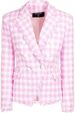 Balmain Women Blazers - Gingham Cotton Blend Tweed Blazer