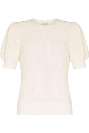 Moncler Women Sweaters - Logo-patch short-sleeve jumper - Neutrals