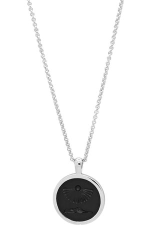 "TOM WOOD Clytia onyx-embellished pendant 18"" - Metallic"