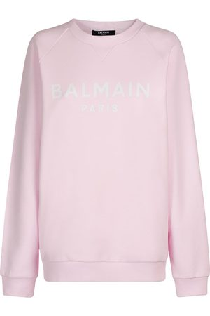 Balmain Women Sweatshirts - Logo Printed Organic Cotton Sweatshirt