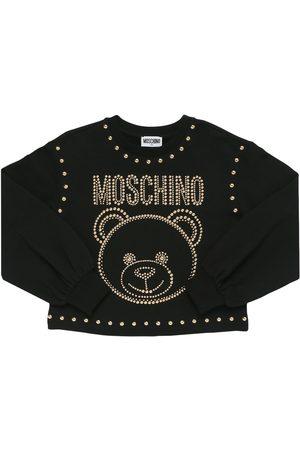 Moschino Girls Sweatshirts - Studded Cotton Blend Sweatshirt