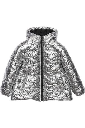 Simonetta Girls Puffer Jackets - Star Embroidered Hooded Puffer Jacket