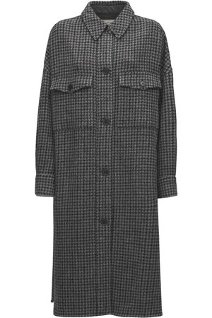 Isabel Marant Women Coats - Fontiali Check Wool Long Shirt Coat