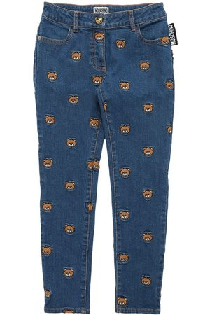 Moschino Girls Stretch - Toy Patch Stretch Cotton Jeans
