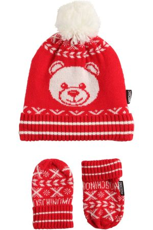 Moschino Girls Hats - Jacquard Wool Blend Knit Hat & Gloves