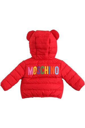 Moschino Logo Hooded Nylon Puffer Jacket W/ Ears