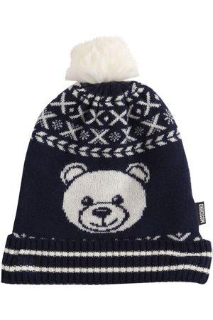 Moschino Jacquard Wool Blend Knit Beanie Hat