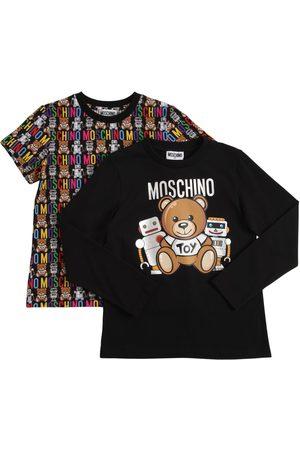 Moschino Set Of 2 Printed Cotton Jersey T-shirts